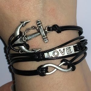 Jewelry - Black Silver Stacked Charm Bracelet